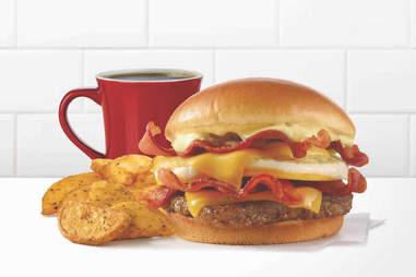 breakfast baconator wendy's burger bacon sausage eggs cheese am