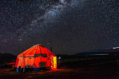 Milky Way over yurt