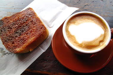 Cappuccino and Cinnamon Toast at Trouble Coffee