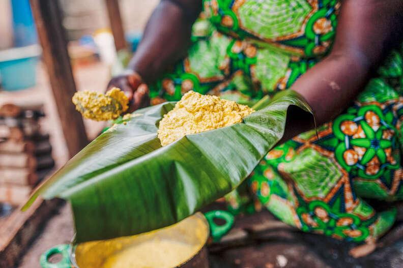 corn foufou on plantain leaf