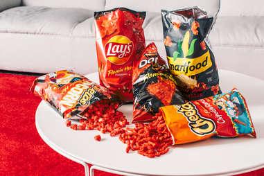 flamin' hot products spicy chips lays doritos cheetos popcorn