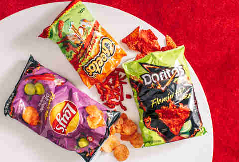 flamin' hot cheetos, doritos, and lays