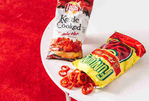 flamin' hot funyuns and kettle cooked chips