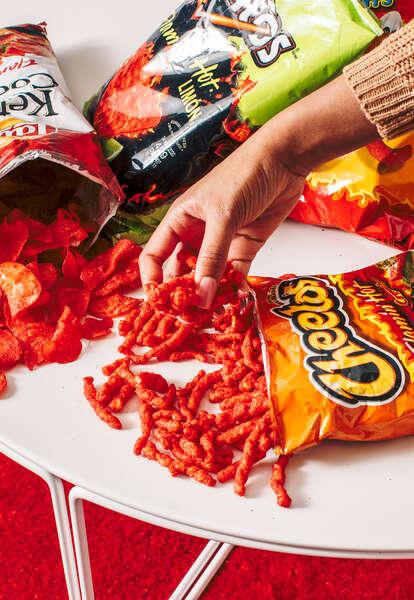 flamin' hot snacks spicy cheetos cheeto lays kettle cooked chips doritos funyuns xxxtra hot heat