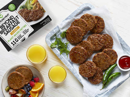 beyond meat new breakfast sausage classic spicy product grocery stores available now martha stewart