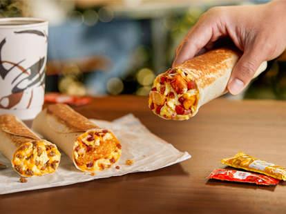 taco bell new breakfast grilled burritos value menu addition promotion tacos burritos eggs ham bacon sausage