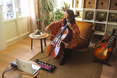 A musician plays an Airbnb concert