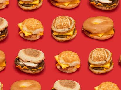 Rows of breakfast sandwiches