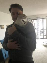 guy dances with cat