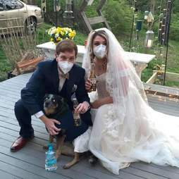 Dogs act as their parents' bridesmaids