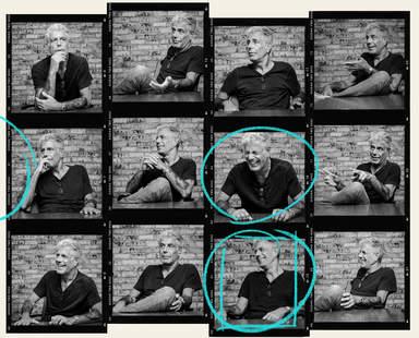 Anthony Bourdain portrait, thrillist