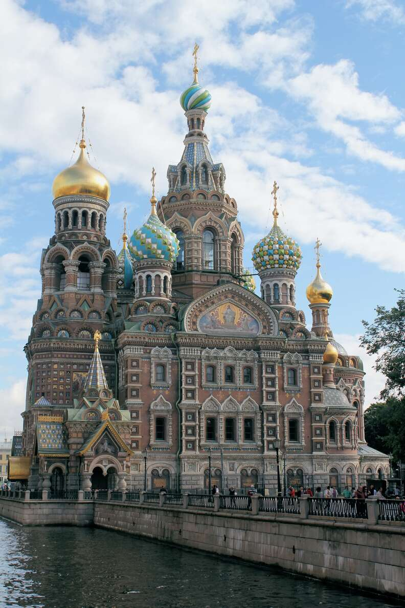 the spires of the Church of the Savior on Spilled Blood in Saint Petersburg, Russia