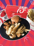 Chick-fil-A chicken nuggets, chicken sandwich, and waffle fries