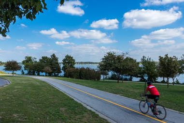 Bicyclist by White Rock Lake