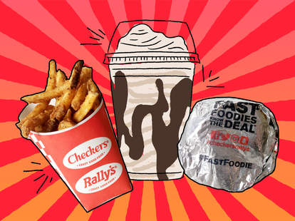 Checkers' French fries, Oreo fudge Stacker, and Cheese Champ burger