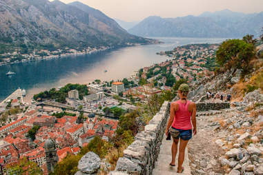 The iconic steps leading down to Kotor, Montenegro
