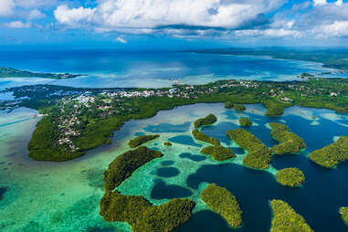 Palau Koror and coves of coral reefs
