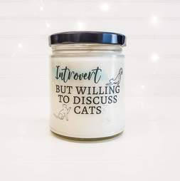cat introvert candle