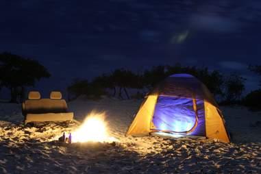 camping on beach