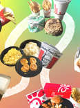 Photo collage: fast food from McDonald's, Wendy's, Burger King, Subway, Popeyes, Chick-fil-A, and KFC