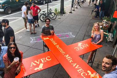 AVEC table outside of White Horse Tavern