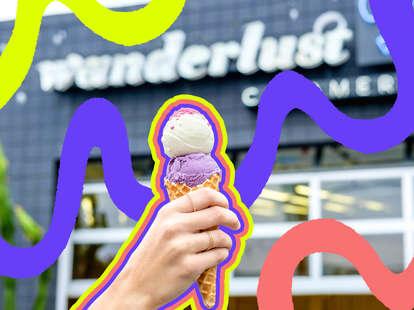 wanderlust creamery ice cream travel scoop shop flavors ube pandan waffle cone japan matcha hojicha black sesame