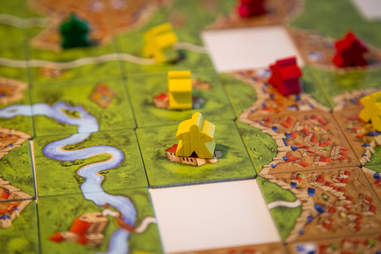 Carcassonne tiles with meeple