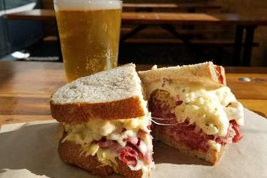 Ploughman's Deli & Cafe sandwich and beer