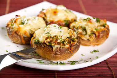 mushrooms stuffed with cheese and vegetables shrooms vegetarian sides barbecue bbq