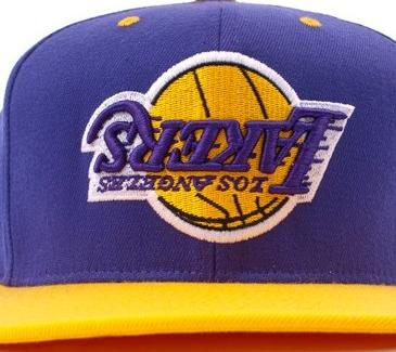 3f2e57e90552f Hall of Fame x Mitchell   Ness Upside Down Lakers Snapback - Own ...