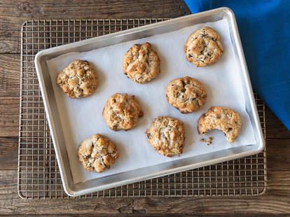Levain cookies on baking sheet