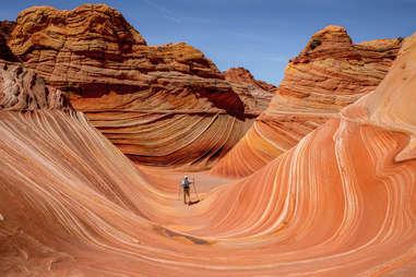 Wave rock formation in Arizona