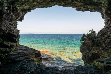 Cave At Bruce Peninsula Shoreline