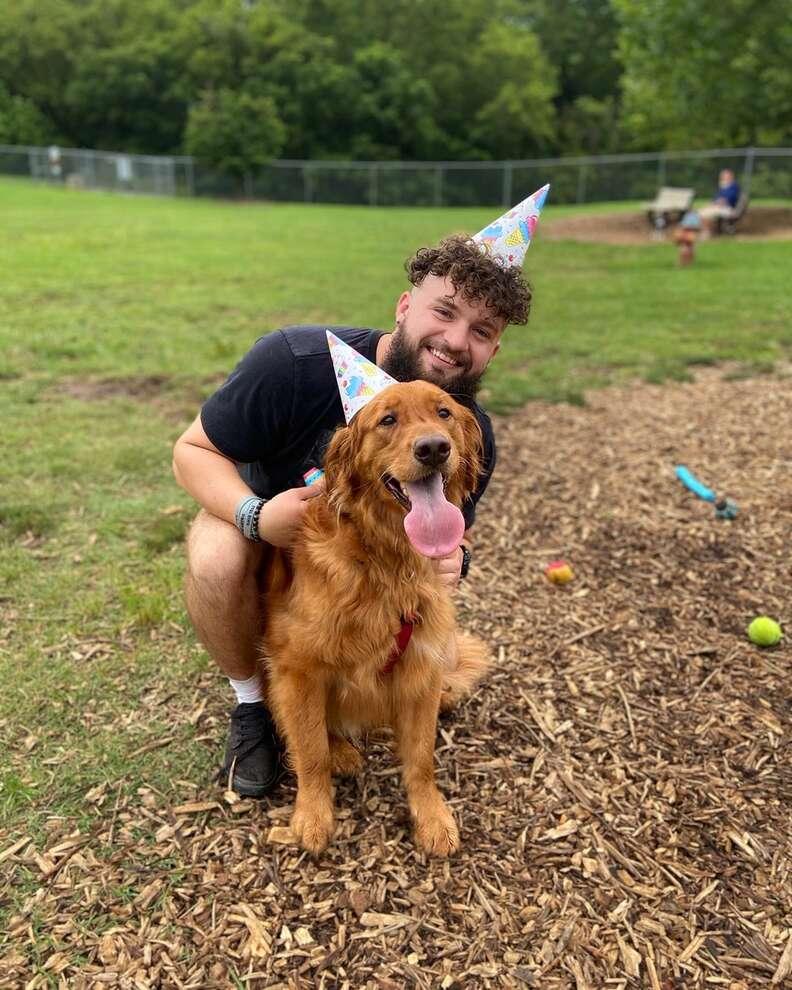 Bruce the golden retriever celebrates his birthday