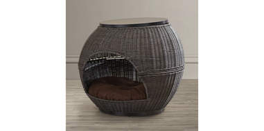 Wicker End Table Cat Bed