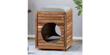 Wooden Ottoman Cat Bed