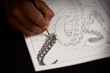 kraken puzzle coloring book