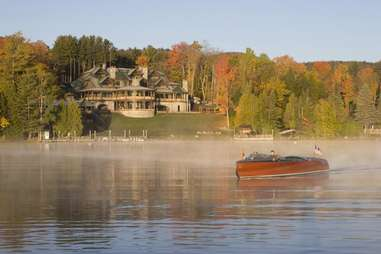 Lake Placid Lodge and boat in new york