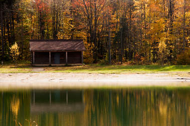 The Spruce Lake in Ellicottville, New York during the fall