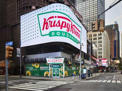 The exterior of Krispy Kreme's new Times Square store