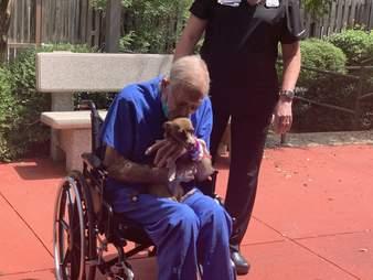 Armstrong reunites with his dog Bubu
