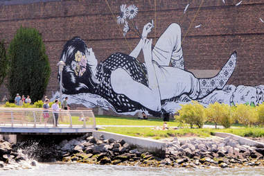 WNYC Transmitter Park mural along the East River in Greenpoint