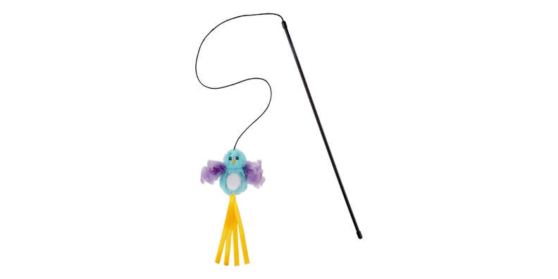 bird teaser with feather cat toy