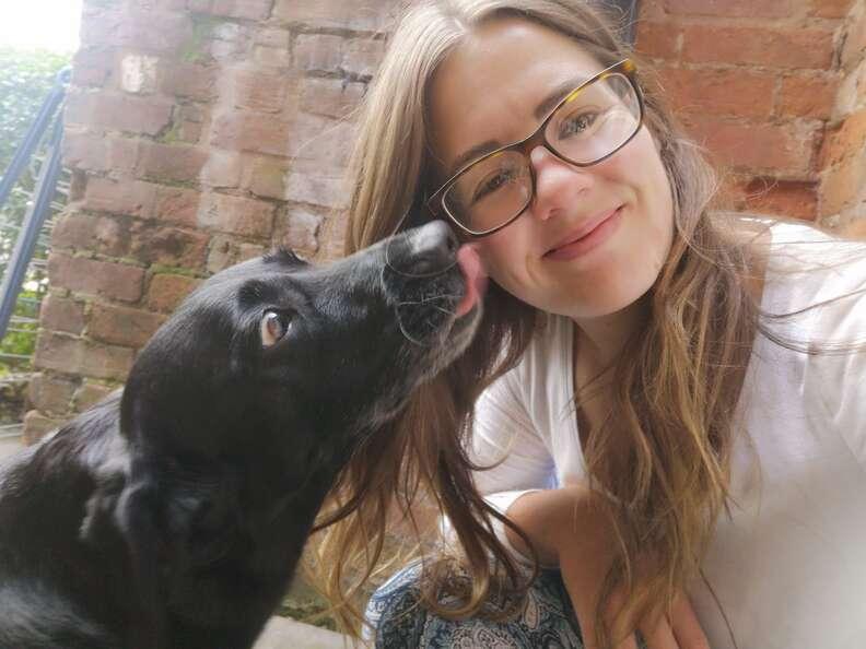 Neighbor dog visits woman every day