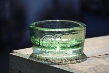 recycled glass dog bowl