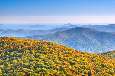 a mountain range covered in colorful fall trees