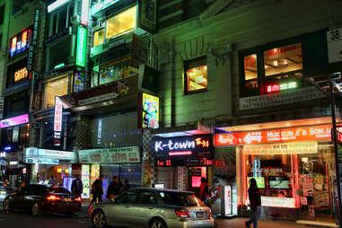 Koreatown NYC at night