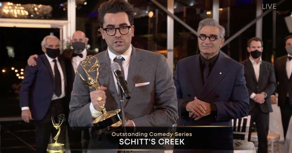 Emmys 2020 Schitt S Creek Wins Big At The Emmy Awards Thrillist Schitt's creek (stylized as schitt$ creek ) is a canadian television sitcom created by dan and eugene levy that aired on cbc television from january 13, 2015 to april 7, 2020. emmys 2020 schitt s creek wins big