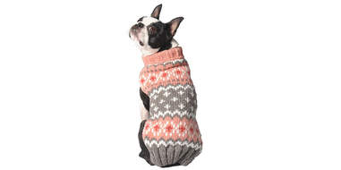 Peach Fair Isle Dog Sweater