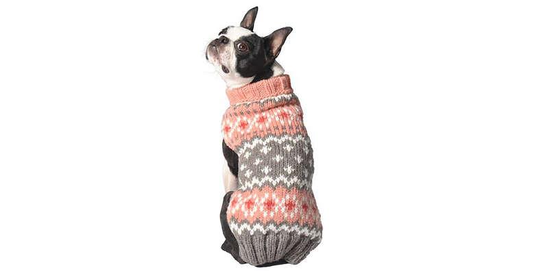 Peach Fair Isle Dog Sweater
